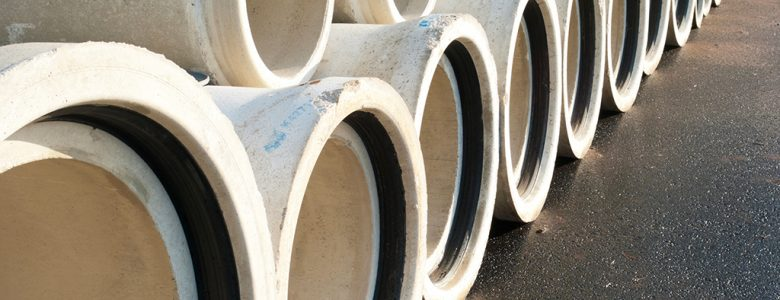 concrete drainage pipes on a newly built industrial area
